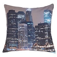 "Retro 16"" Square Cities Pillow Cover/Pillow With Insert"