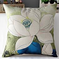 Kinesisk målning vita lotus mönstrad bomull / linne dekorativa örngott