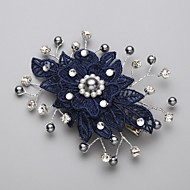 Women's Lace / Alloy / Imitation Pearl / Cubic Zirconia Headpiece-Wedding / Special Occasion Hair Combs / Flowers Blue