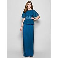 Lanting Sheath/Column Plus Sizes / Petite Mother of the Bride Dress - Ink Blue Floor-length Short Sleeve Chiffon / Lace