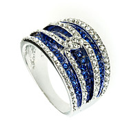 Arinna Ladies Sapphire Stripe Cocktail Ring 18k White Gold GPClear Crystal J2165