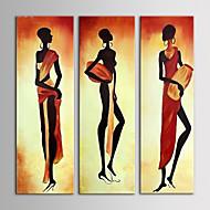 ストレッチフレームとキャンバスを描いたオイルは3手のキャンバスセットに近代的な抽象アフリカの女性たちを描くiarts