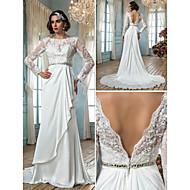 Sheath/Column Plus Sizes Wedding Dress - Ivory Sweep/Brush Train Jewel Satin Chiffon