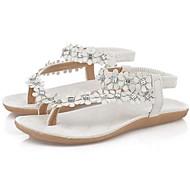 Calçados Femininos - Sandálias - Chinelos - Rasteiro - Branco / Bege - Couro - Casual