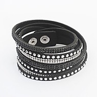 Armbänder Wickelarmbänder Lederarmbänder Aleación Leder Knopf Einstellbar Party Schmuck Geschenk Schwarz Rot,1 Stück