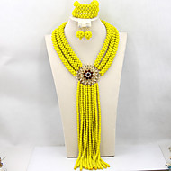 Hot New Design African Wedding Party Beads Jewelry Set Crystal Beads Necklace Set AC052