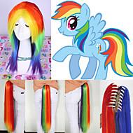 Angelaicos Womens My Little Pony Rainbow Dash Long Multi-Color Ponytail Hallowen Costume Cute Cosplay Party Lolita Wig
