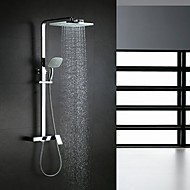 Contemporary Shower System Waterfall Rain Shower Handshower Included with  Ceramic Valve Single Handle Three Holes for  Chrome , Shower