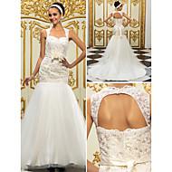 lanting de novia adecuado& flare petite / tallas grandes reina vestido de boda del tren de la corte-Anne de encaje / tul