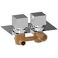 ChromeH Square Dual Handle Thermostatic Rainfall Shower Mixer Valve