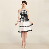 Homecoming Wedding Party Dress A-line Strapless Knee-length Satin Dress