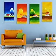 e-Home® venytetty kankaalle art puut ja talot koristemaalausta sarja 4