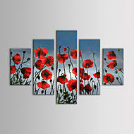 iarts peinture à l'huile florale moderne mur de fleurs rouges pendaison ensemble de la toile 5 peints à la main sur canevas tendu