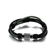 Fashion Men's Black And Green Alloy Leather Bracelet(1 Pc)