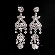 Big Rhinestones Long Vintage Dangle Brides Bridesmaids Wedding Party Princess Earring