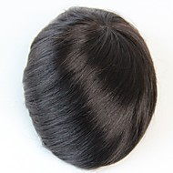 8x10 Men's Toupee Human Hair Piece  Natural Black Colour #1B