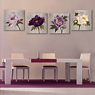 E-HOME® Stretched Canvas Art Flower Decorative Painting  Set of 4