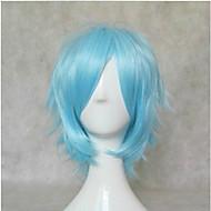 새로운 세련된 블루 코스프레 가발 합성 머리 가발 짧은 직선 애니메이션 가발 파티 가발