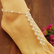 2Pcs Pearl Barefoot Sandals Beach Wedding Foot Jewelry Anklet Ankle Bridal Bracele Bridesmaid Barefoot Jewelry