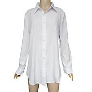 Vrouwen Effen OverhemdLange mouw,Polyester