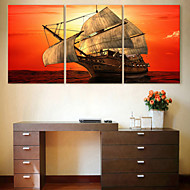 E-HOME® Stretched Canvas Art Sail The Sea Decoration Painting Set of 3