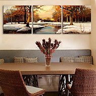 E-HOME® Stretched Canvas Art The Snow Forest Decorative Painting  Set of 3