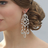 Women's Silver Drop Earrings With Rhinestone Long Big Earring