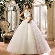 Ball Gown Wedding Dress - Ivory Floor-length Halter Organza