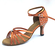 Customized Latin Women's Sandals Satin with Rhinestone Dance Shoes