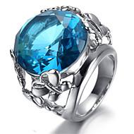 Ladies Stainless Steel Ring, Blue Crystal, Oval KR9423