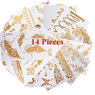 14 - Séries bijoux - Doré - Motif - 21*11CM - Tatouages Autocollants Homme/Femme/Adulte/Adolescent