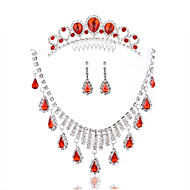 Ladies'/Women's Alloy Wedding/Party Jewelry Set With Diamond Red