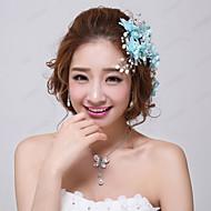 נשים / נערת פרחים קריסטל / סגסוגת / דמוי פנינה / בד כיסוי ראש-חתונה / אירוע מיוחד פרחים / סיכת שיער 3 חלקים