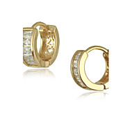 Women's Earrings of New 18K Real Gold Plating Small Hoop Earrings With Swiss Cubic Zircon Inlayed Hoop