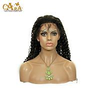 """8 """"-26"""" brazilian virgin hair kinky krullend lijmloze volledige kant pruik kleur zwart met baby haar voor zwarte vrouwen"""