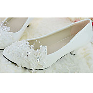 Women's Shoes Leather Flat Heel Pointed Toe Pumps/Heels/Flats Wedding/Party & Evening White
