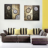 E-HOME® Stretched Canvas Art Abstract Circular Pattern Decorative Painting  Set of 2