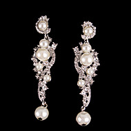 Vintage Pearls Crystal Earring Jewelry Wedding Silver Earring For Bridal Lades