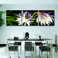 e-home® strukket lerret kunst hvite blomster dekormaling sett med 3