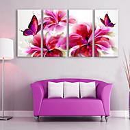 e-HOME lona envuelta arte de la mariposa y flores Conjunto de la decoración de pintura roja de 4