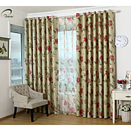 país curtains® um painel apagão floral vermelho cortina cortina