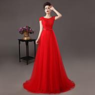 Prom/A-line/Sheath/Column Jewel Sweep/Brush Train Lace Dress