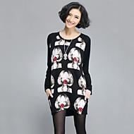 Tee-shirt Aux femmes Manches Longues Col Arrondi Elastique/Mélanges de Coton