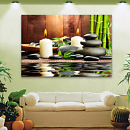 E-HOME® Stretched LED Canvas Print Art Candles And Stones LED Flashing Optical Fiber Print