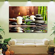 E-Home® gestreckt geführt Leinwanddruck Kunst Kerzen und Steine geführte blinkende Glasfaser Druck