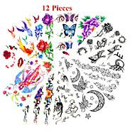 12ks smíšené vzory dočasné tetování nálepka ženy dívka květiny tetování paže krku tetování