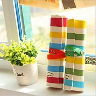 renkli şerit keten üç ahşap kalem çantası (rastgele renk)