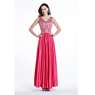 Formal Evening Dress - Fuchsia Plus Sizes / Petite A-line V-neck Floor-length Stretch Satin