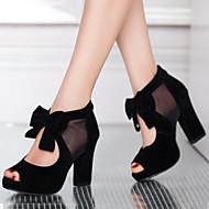 Women's Shoes Suede Chunky Heel Heels / Peep Toe Sandals Dress Black