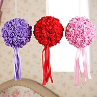 6 Inch Foam Santin Artifiical Kissing Rose Flowers Balls Wedding Bouquet Car Decoration
